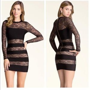 Bebe lace/bandage long sleeve dress, worn once,
